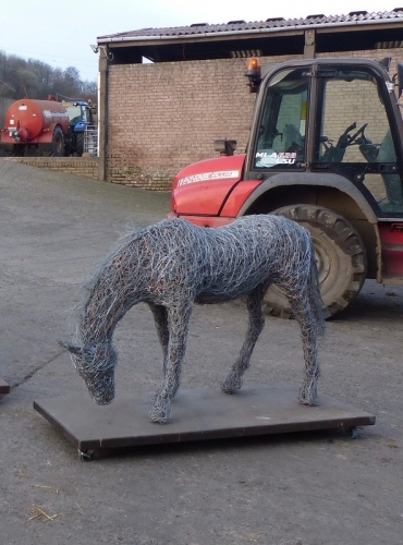 7. Grazing horse in copper and steel