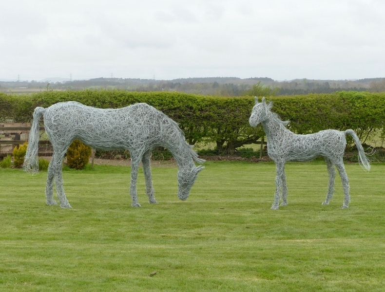 89. Sculpture commission 2020 wire horses  close up.