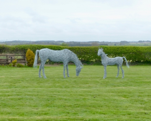 88. Sculpture commission 2020, mare and foal wire horses.