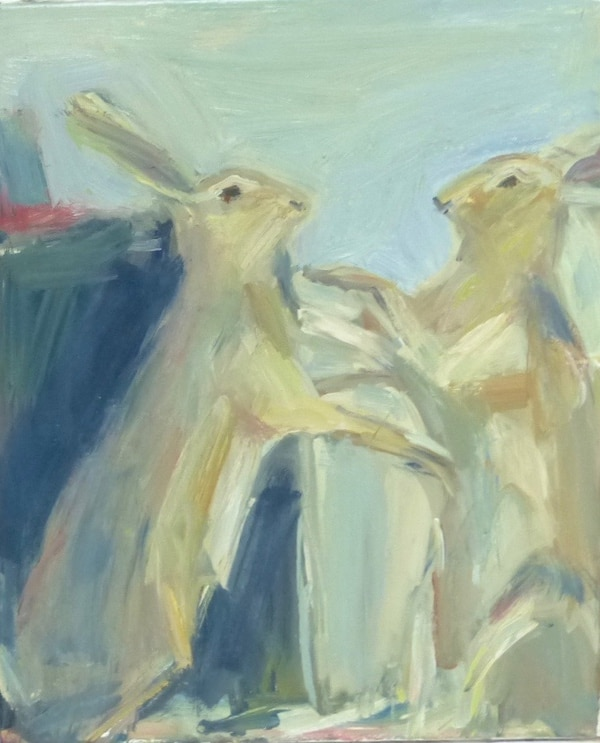 26. 'March Hares'  painting, oil on canvas.