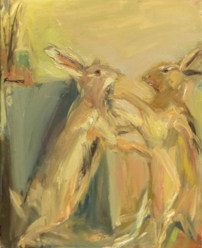 26. March Hares  painting,  oil on canvas.