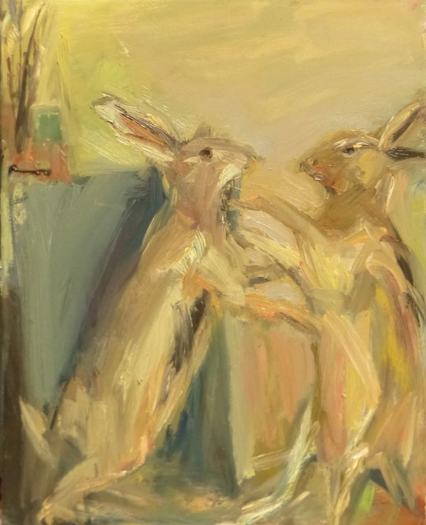 6. March Hares painting. Oil on canvas