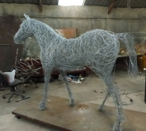 Large scale wire horse in progress, commission 2016