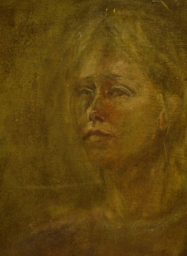 16. Portrait emerging, oil on board
