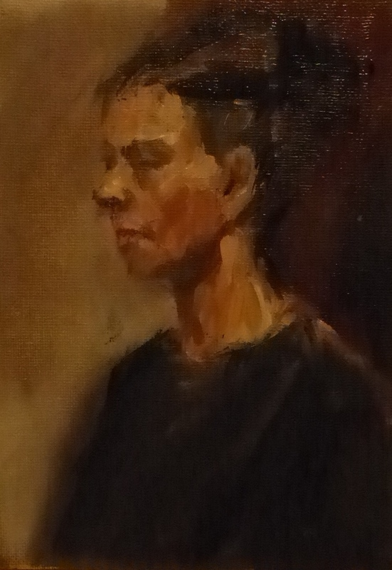 11. Small portrait study, oil on board