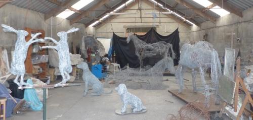 22. Cocker Spaniel sculpture in wire, 2021.