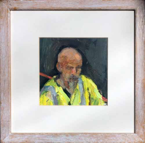 4. Small portrait of workman (oil on board)